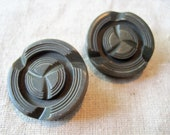 Pair of 2 large carved army green vintage buttons