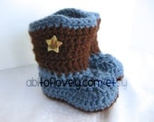 Baby Boy Boots / Shoes - Brown & Blue, Star - YOUR choice size - (newborn - 12 months) - photo prop - clothing