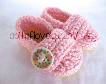 Baby Girl Infant Shoes / Slippers / Booties - Yellow & Pink, Shell Flower - YOUR choice size - (newborn - 12 months) - photo prop - children