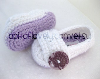 Easter Baby Infant Girl Shoes / Slippers / Booties - Purple & White - YOUR choice size - (newborn - 12 months) - photo prop - clothing