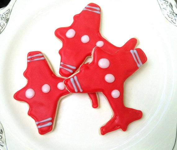 Red Airplane Sugar Cookie Iced Decorated Cookie Birthday Party Favor Time Flies Theme Boy Baby Shower