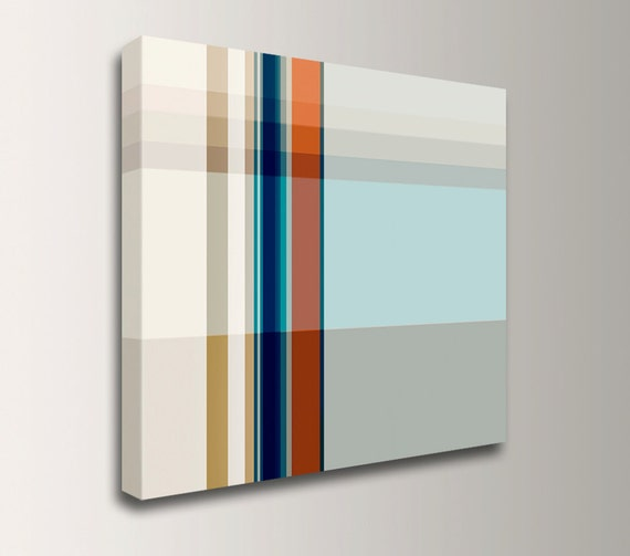 "Geometric Line Art - Canvas Print - Modern Art - Red Blue and Grey Wall Art "" Pass """