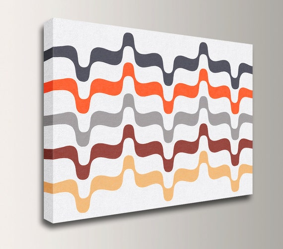 "Mid Century Modern - Retro - Canvas Print - Grey and Orange - Abstract Art - Modern Wall Decor - "" Undulation"""