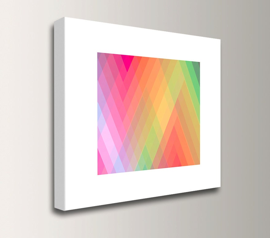 Bright wall art pink and lime green wall decor zig zag for Lime green wall art