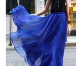 Blue Skirt  fashon skirts Long Skirts Chiffon Skirt