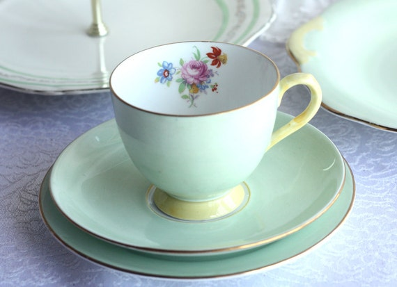 """Stylish vintage tea set: """"Grosvenor"""" pale green tea cup, saucer and plate with floral detailing, a lovely set to add to a collection"""
