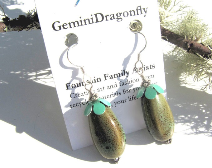 Porcelain Earrings -- Blossom Earrings -- Earthy Earrings -- Green Dangle Earrings -- Teal Green Earrings -- Eco Friendly Earrings