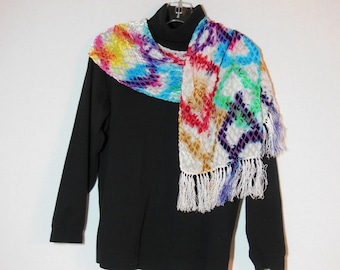 Scarf, Devore silk cut rayon scarf, OOAK