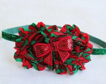 Jolly- Limited Edition- Christmas Chiffon flower headband, newborn headband, red headband, christmas headband, photography prop