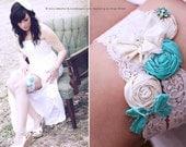 ON SALE/wedding garter / Mint Blue / Turqouise / bridal garter/ lace garter  / Something BLue wedding garter / vintage inspired lace garter