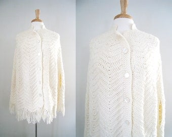 Vintage '70s Knit Poncho / Cape Coat / Cloak - Size Small / Medium