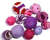 "1 dozen mixed felt balls - ""Pink and Purple"""