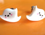 Free Shipping -  Ghost stud earrings on hypo allergenic steel earposts