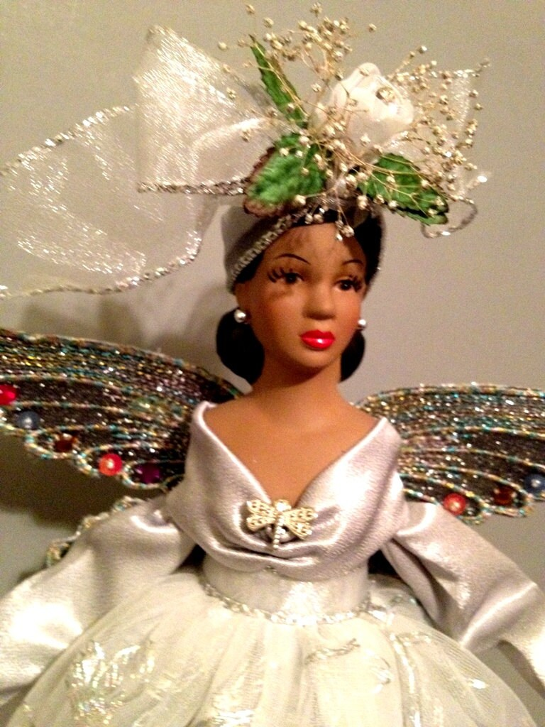 African American Christmas Angel Tree Topper Dragonfly Theme