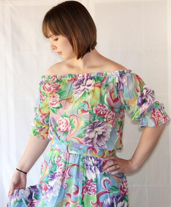 SALE 80s Maxi Dress / Skirt / Peasant Blouse /  Gypsy / Boho / Carefree Fashions