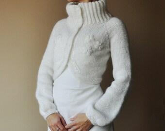 BRIDAL SWEATER wedding bolero lignt cream color long sleeves mohair very warm size S