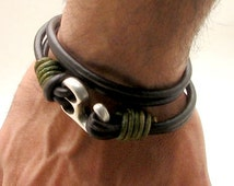 EXPRESS SHIPPING Personalized Men's leather bracelet. Leather bracelets.Brown leather wrap men's bracelet with silver plated hook clasp.
