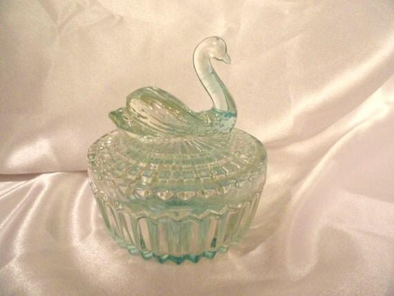 Aqua powder box with pretty swan top, vintage look glass, pretty color