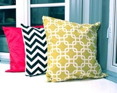 20 x 20 inch geometric chartreuse pillow