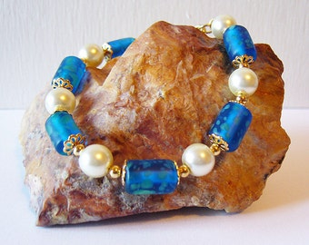 Serenity - Blue/Green Glass Bead and Pearl Bracelet