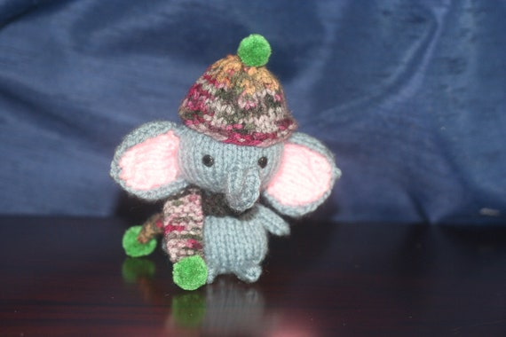 Miniature Knitted Elephant Amigurumi Doll - Blue Elephant with knit Hat and Scarf
