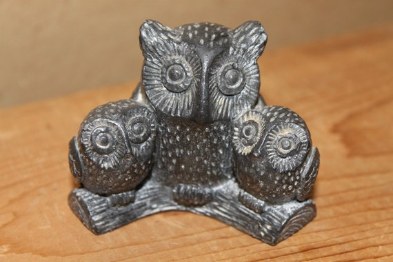 Owl family eskimo inuit soapstone carving sculpture wolf
