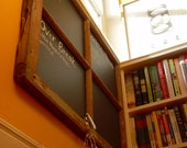 Salvaged wood frame chalkboard with 4 sections