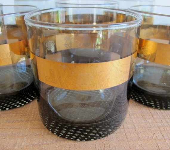 Smoked Glass Vintage Barware with Gold Leaf Band - Highball Glasses - Set of Eight (8)
