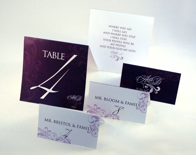 CUSTOM Wedding table card number folded and name place setting card folded.