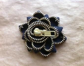 Brooch - Black and Gold Zipper Flower