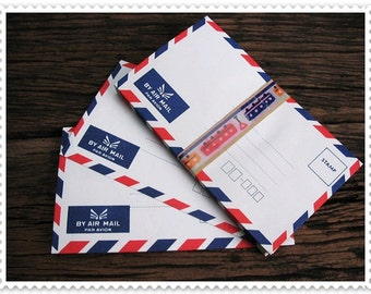 The Set of 25 Thai Vintage Mini White Airmail  Envelopes 9 cm X 16 cm ,easy and ready to use.