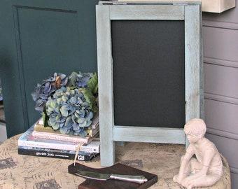 Vintage MINI Tabletop French Cafe Sidewalk Chalkboard, Duck Egg Blue
