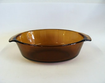 Anchor Hocking Fire King Amber Glass Oval Baking Casserole Dish, Brown Serving Casserole Dish
