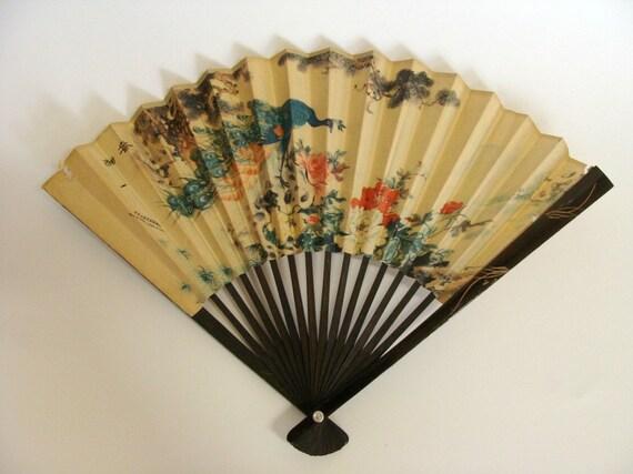 Vintage Chinese Paper Hand Fan / Wood Bamboo Paper Hand Held Fan / Folding Fan