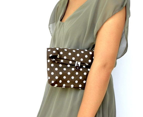Fold Over Clutch, Brown and White Purse,Fall Fashion Clutch, Chocolate Cosmetic Bag, Handbag, Make up Pouch