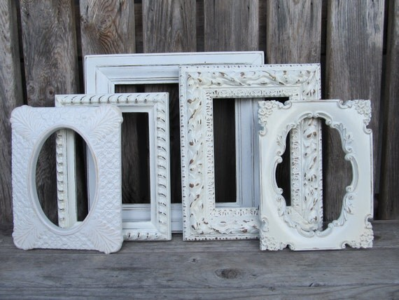 Reserved For Michelle Chellelily-Five Ornate Shabby Chic Open Frames