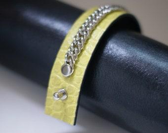 women's Leather  bracelet  crocodile  print &metal 100% real  leather handmade