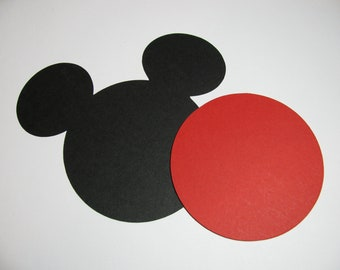 "DIY Mickey head with shorts: 60 pack- 5"" Mickey Mouse Large ear die cuts (BLACK) w/ 30 circles (RED)"