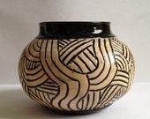 Black & White Carved Pottery