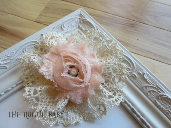 Shabby Chic Bow w/ cream crocheted lace & chiffon rosette- Photo Prop Baby Toddler Flower Girl Womens