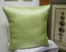 Green Satin Pillow, Decorative Pillow Cover, Elegant Satin Pillow, Pastel Green Pillow, Throw Pillow, Accent Pillow.