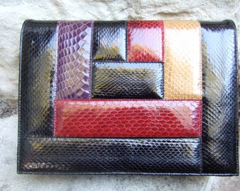 Snakeskin Stylish Vintage Clutch Bag c 1980