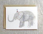 Elephant Birthday Card. Sweet Elephant Greeting Card. New Baby Greeting Card. Blank Elephant Birthday Card. Cute Elephant Baby Shower Card.