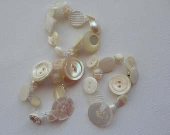 Button Bracelets Set of Three in Cream and White Stretch Vintage Buttons