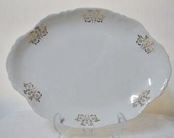 Vintage White Oval Patter- Gold Trimmed