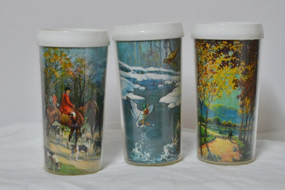 Vintage Thermal Insulated Glasses - set of 3 - Country Pictures