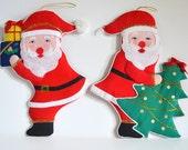 Vintage Santa Christmas Decoration, Large Ornament, Tree, Presents. Fabric HandMade Holiday Shabby Chic Traditional Santa Clause