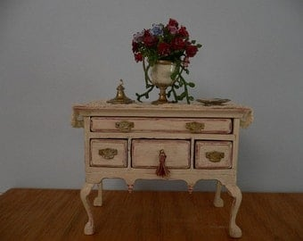 Dollhouse Miniature One Inch Scale Side Chest with Flower Arrangement