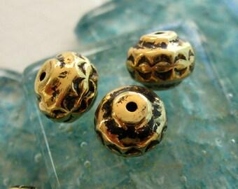 Vintage 9x10mm Primitive Beads in Antique Gold.  18 pcs.
