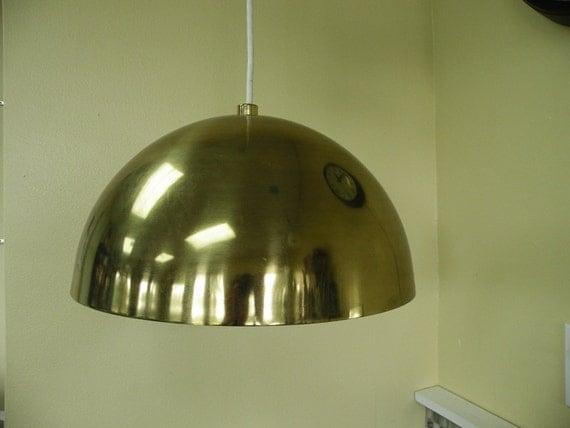 Huge Brassy Dome Pendant Light // 70s Mod Groovy Lighting Lamp